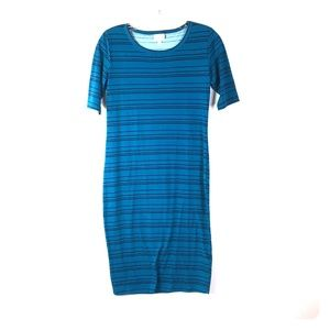 LuLaRoe Dress XS Teal Striped Boatneck *N